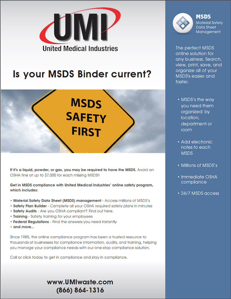 OSHA certification material safety data sheet management